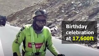 80-year-old Kerala man pedals to his dream destination at 17,600ft above MSL