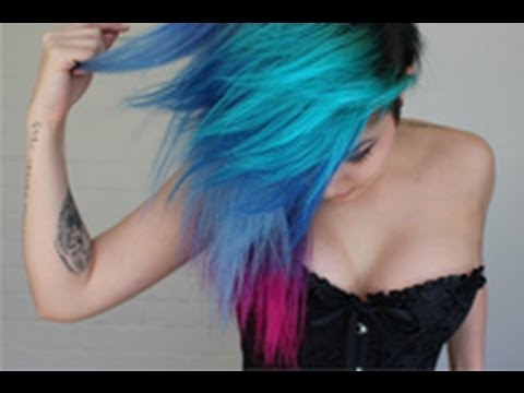 how i did my turquoise blue purple pink hair my little