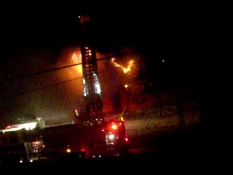 Reeb House burning down
