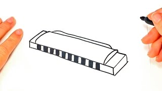 How to draw a Harmonica | Harmonica Easy Draw Tutorial
