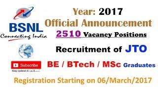 BSNL JTO Recruitment 2017 for BE / BTech / MSc