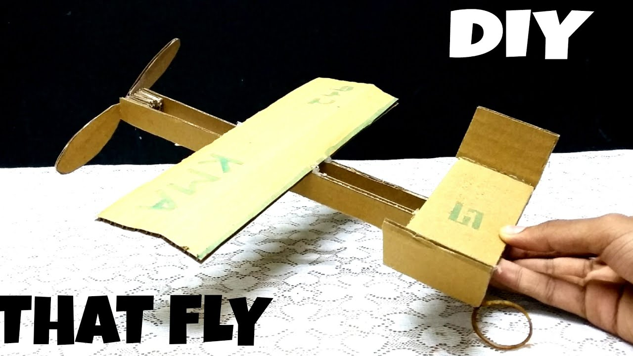 How To Make Rubber Band Plane Out Of Cardboard Diy How