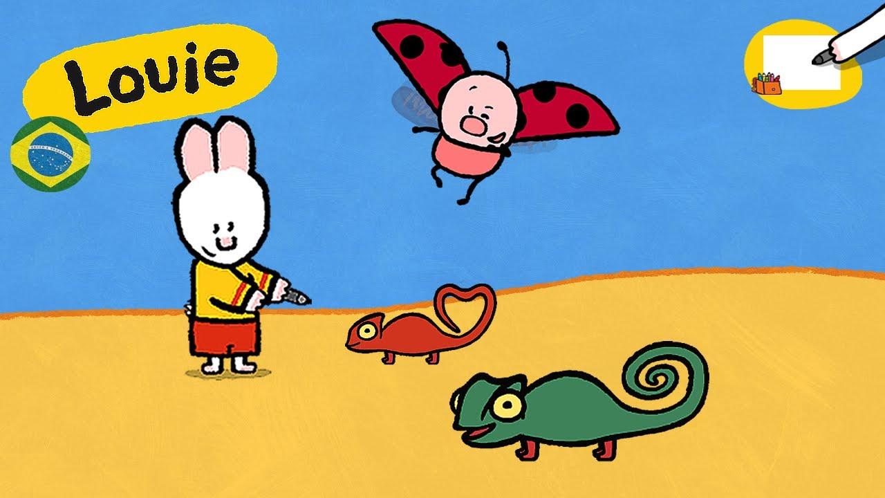 camaleão louie desenhe um camaleao desenhos animados para