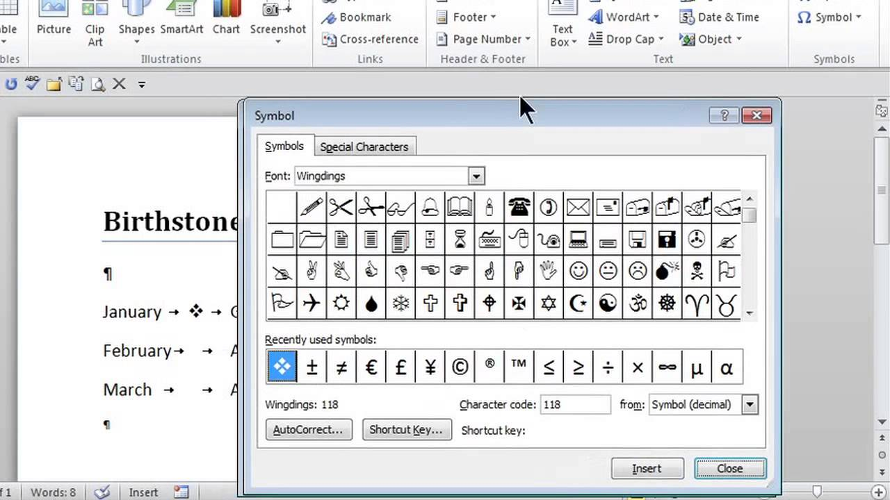 how to put bullets between words   ms word skills