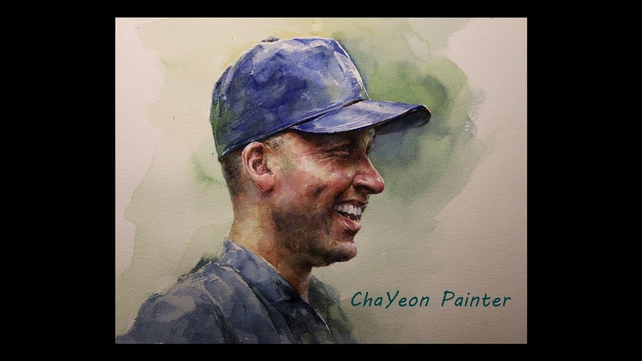 watercolor portrait of Smiling dad | face in baseball cap 미소 짓는 얼굴 인물 수채화, 야구 모자 쓴 아빠의 얼굴