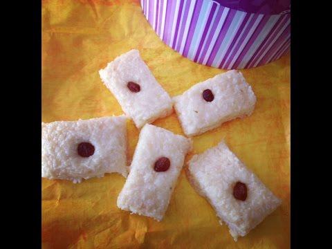 Easy Coconut Fudge Recipe ( Edible Holiday Gifts Ideas) Sooji-Nariyal Burfi