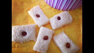 Easy Coconut Fudge Recipe ( Edible Holiday Gifts Ideas) Sooji-nariyal Burfi