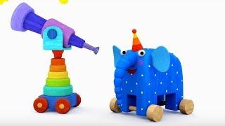 Деревяшки - Качели + Мячик- обучающие мультфильмы для малышей 0-4