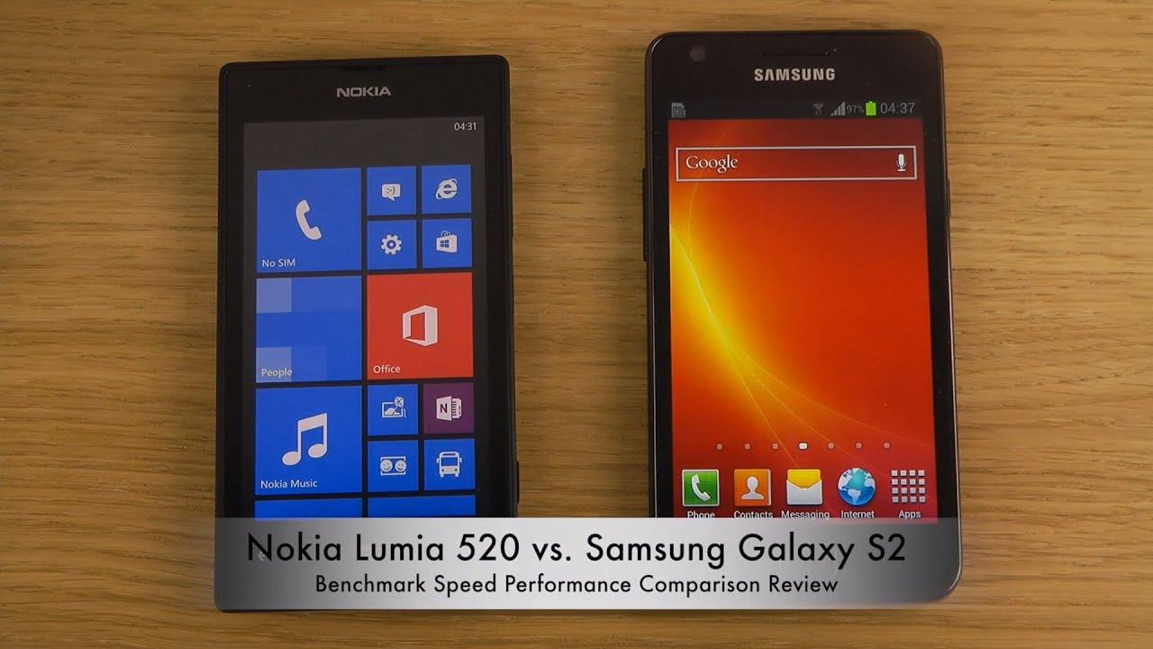 Nokia Lumia 520 vs. Samsung Galaxy S2 - Benchmark Speed .