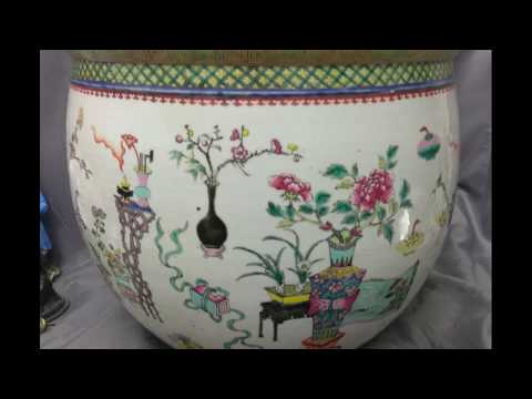 Antique Old Chinese Asian Fish Bowl Planter Pot Vase Enameled Art Pottery Urn