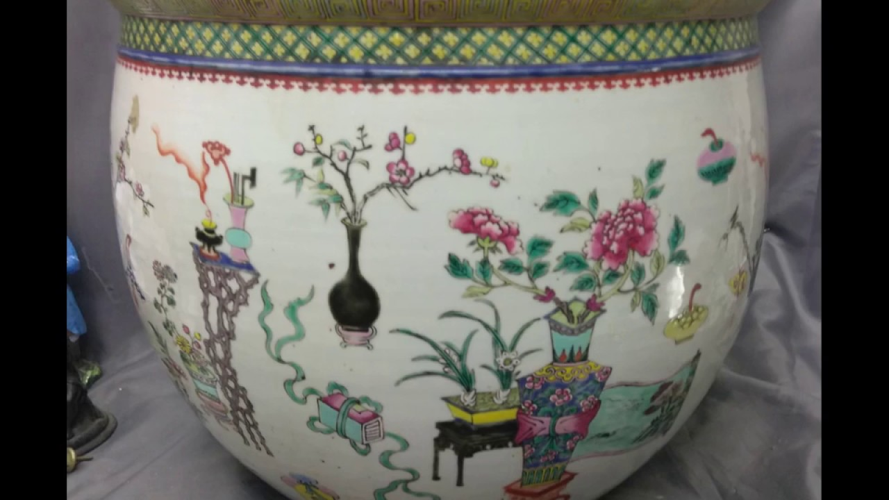 Antique Old Chinese Asian Fish Bowl Planter Pot Vase Enameled Art