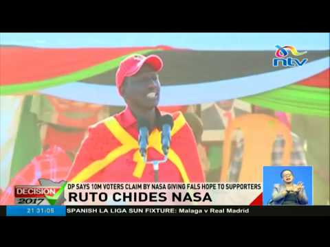 William Ruto says 10m voters claim by NASA giving false hope to