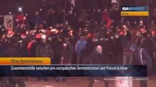 Zusammenstöße bei Demonstrationen in Kiew: Blut, Rauch und brennende Autos
