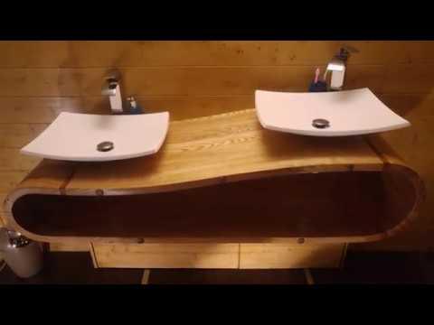 meuble sous vasque mural bois massif artisanal youtube