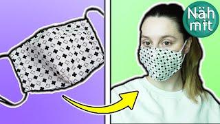 Maske nähen Anleitung | Behelfsmaske mit Abnähern | einfach | gratis Schnittmuster | Näh mit mir!