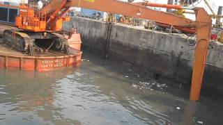 Tata Hitachi EX-1200 excavator with long reach attachment on hire / rental / for dredging in India