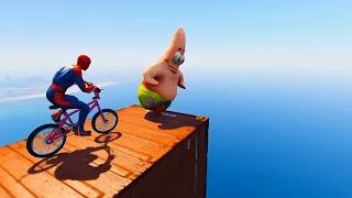 GTA V Water Ragdolls PATRIK VS PINK SPIDERMAN | GTA5 Superhero Battle, Euphoria Physics & Jump/Fails