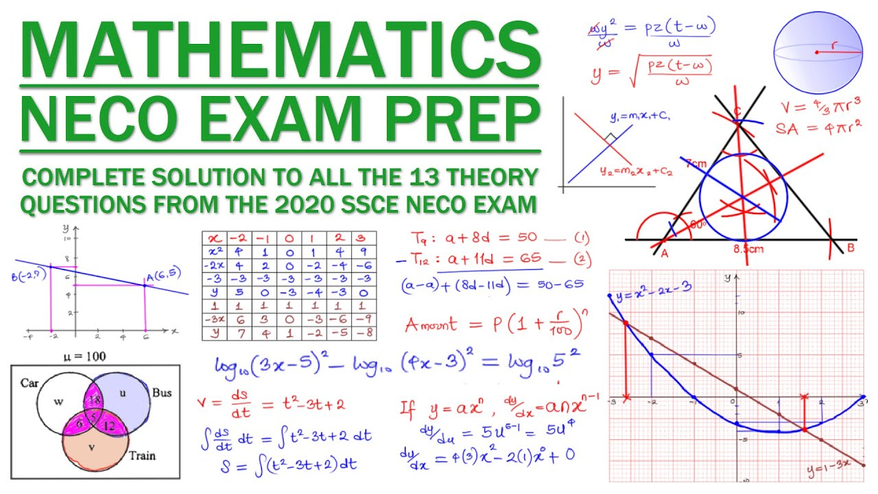 27 NECO MATHS EXAM PREP - DETAILED SOLUTION TO 27 NECO MATHS THEORY  PAPER