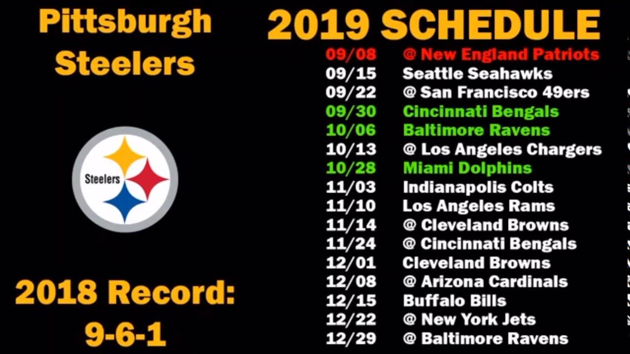 Bills Schedule 2020.Pittsburgh Steelers 2019 2020 Schedule