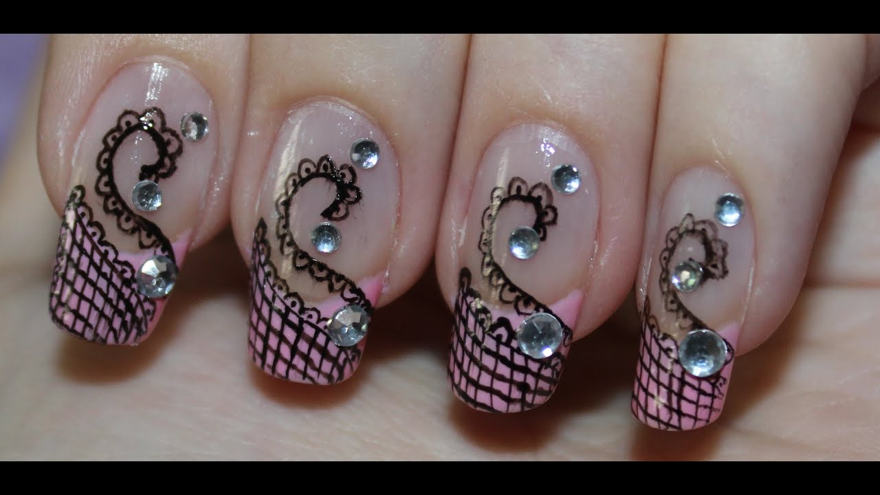 Nail Design - Abstract Lace Swan. Using Nail art pen. - YouTube