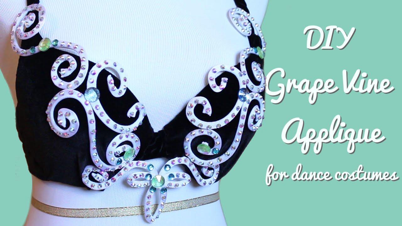 Diy grape vine applique wire rhinestone appliques for dance