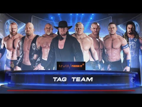 WWE-2K18-Undertaker U0026 Stone Cold U0026 Goldberg U0026 HHH Vs Orton U0026 Cena U0026 Brock U0026 Reigns-Tag Team Match