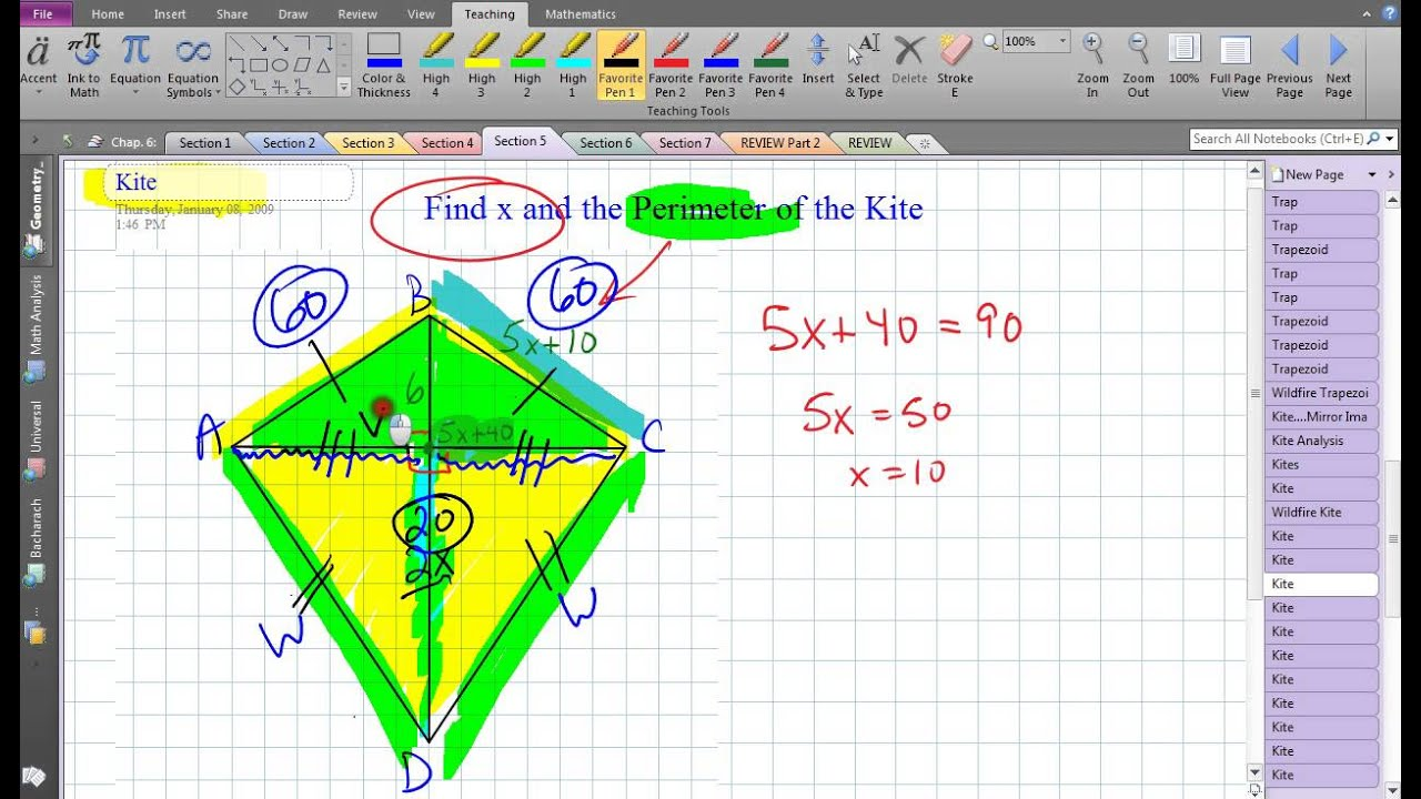 Kite finding perimeter using pythagoras youtube ccuart Images