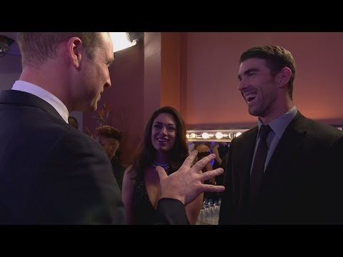 Prince William jokes about fatherhood with Michael Phelps