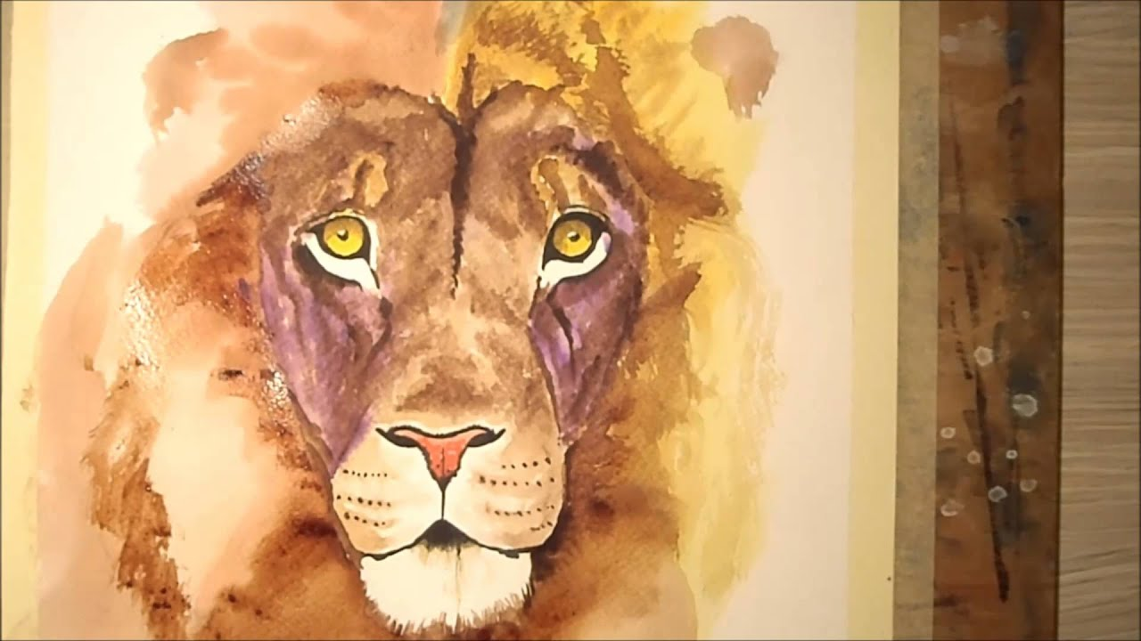 Painting Lion Watercolor