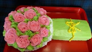 Оформление тортов кремом Мастер класс по торту БУКЕТ РОЗ Торт с цветами Посылки с Али