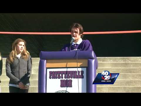 Fayetteville HS students march downtown in protest