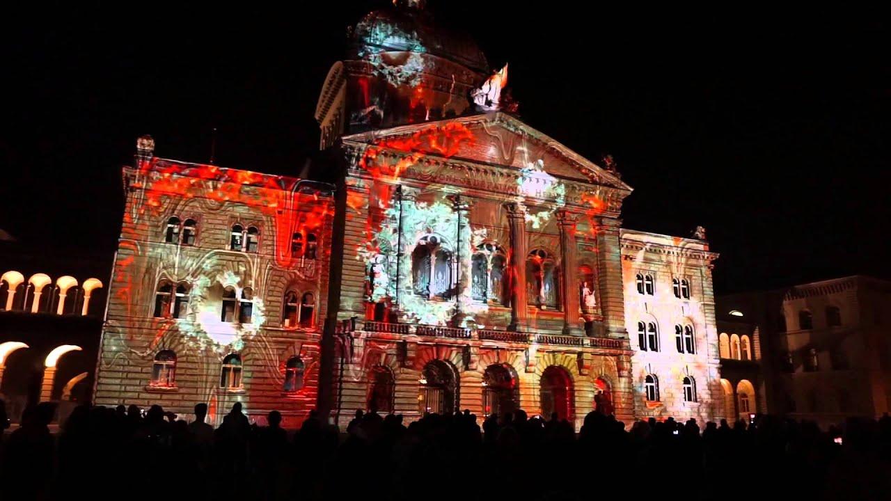 Lichtshow am Bundesplatz Bern Switzerland 2015 - YouTube