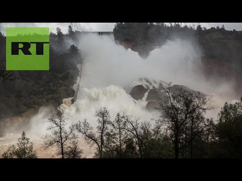 Imágenes desde el lugar del accidente de la presa más alta de EE.UU. en California