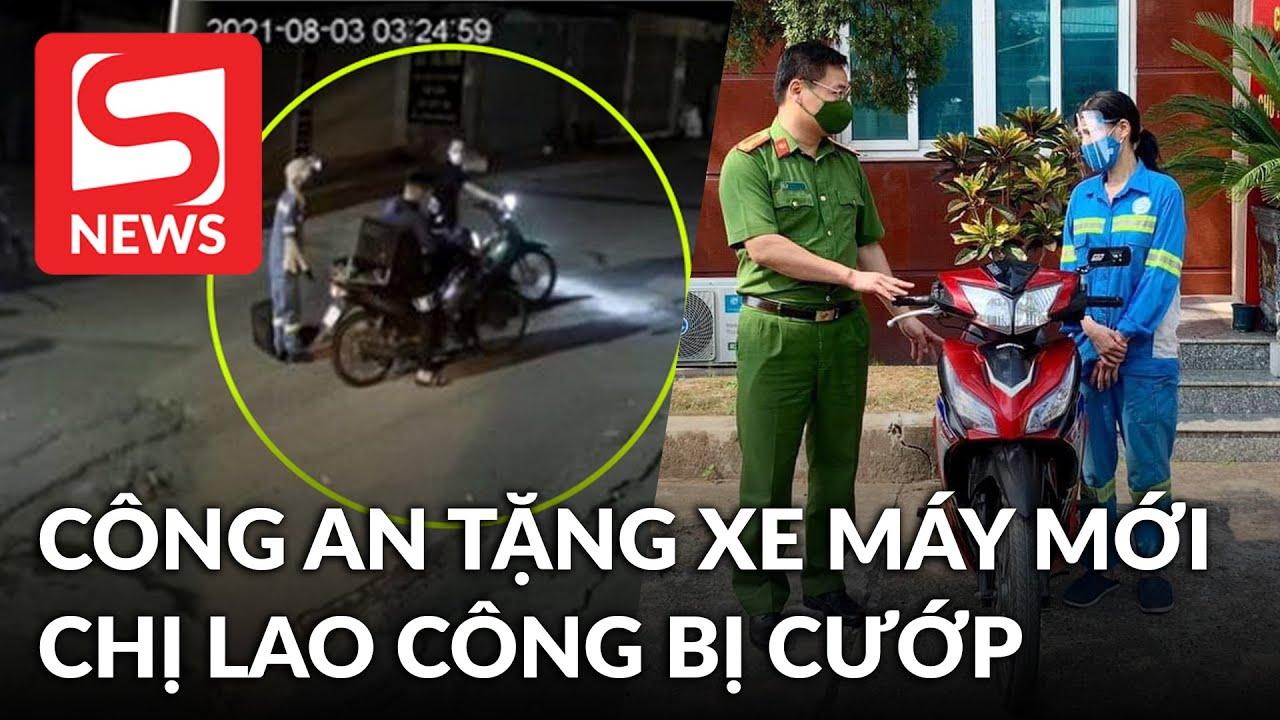 Công an đã tặng xe máy mới cho chị lao công bị cướp trong đêm