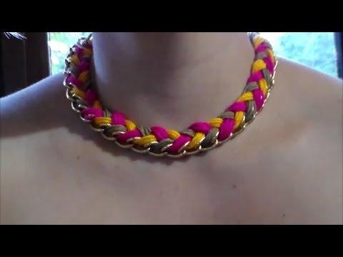 c4c40234ea81 Como Hacer un Collar Facil con Una Cadena e Hilo Macrame - YouTube