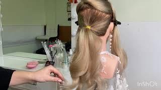 Быстрая прическа на длинные волосы Высокий хвост вечерняя прическа или на фотосессию