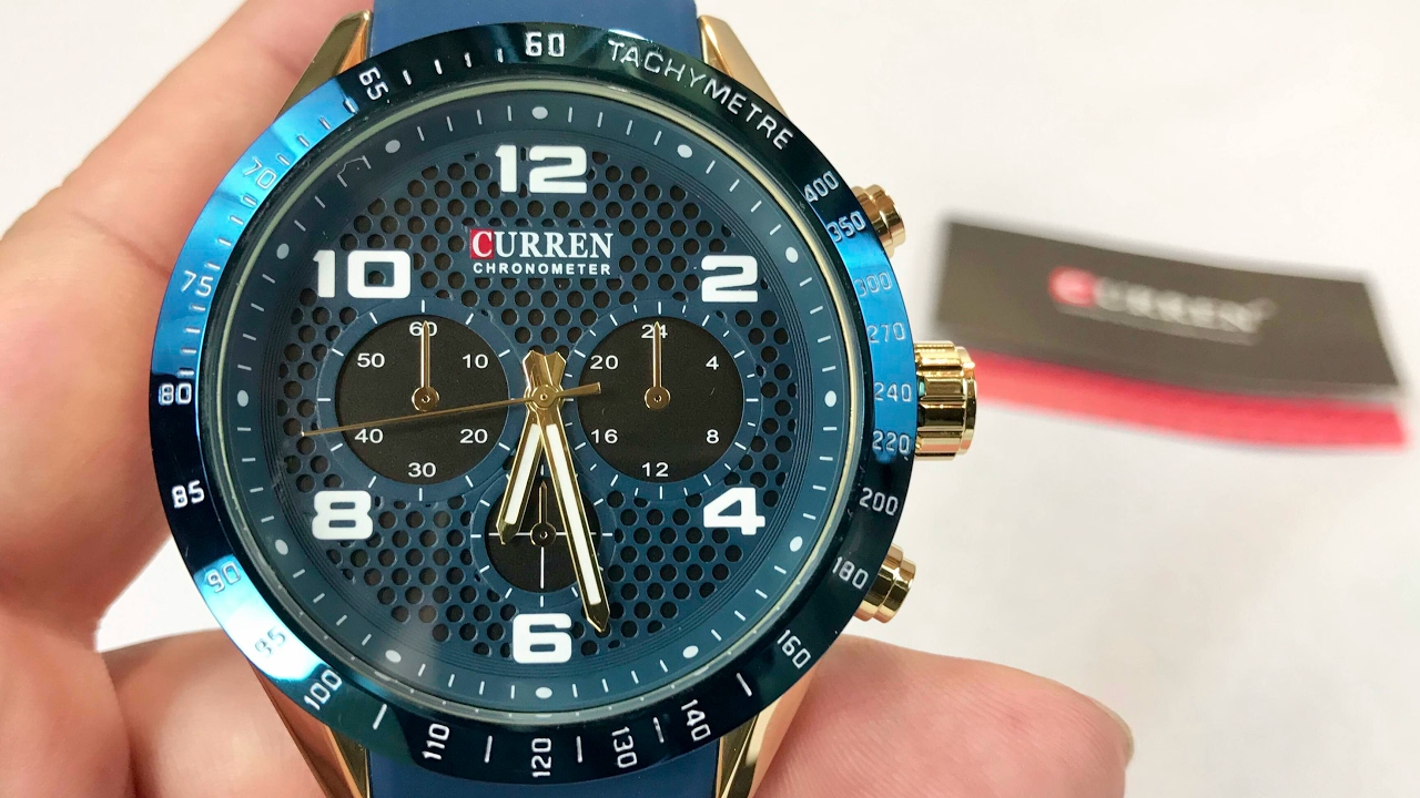 curren 8167 round dial quartz blue and gold wrist watch review and