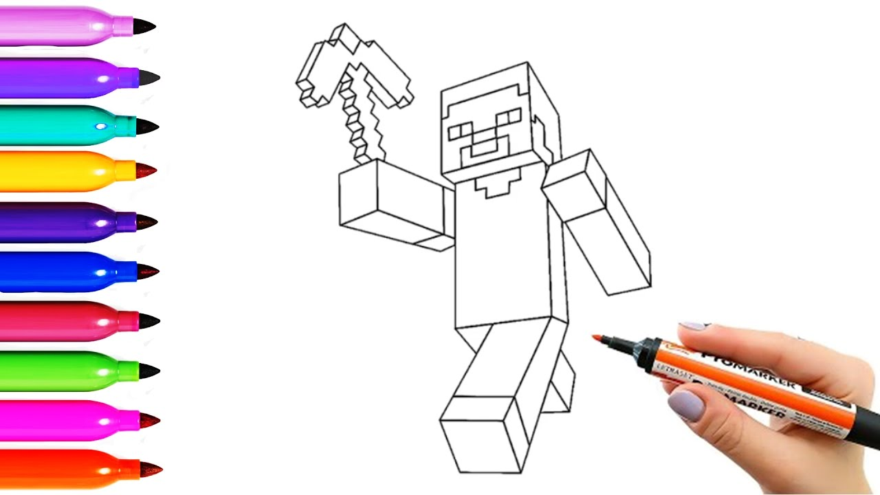 drawing coloring pages minecraft steve characters and chicken
