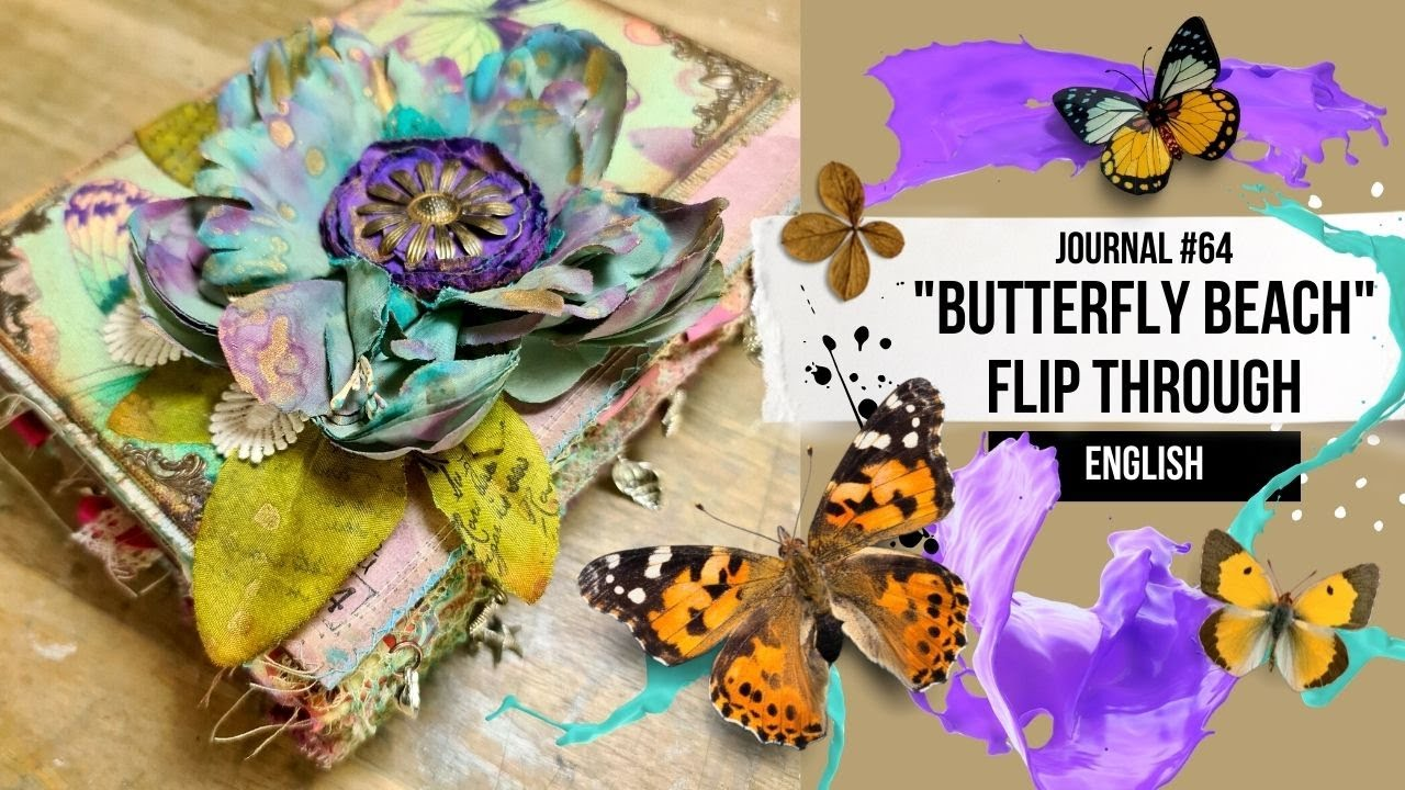 """""""BUTTERFLY BEACH"""" JUNK JOURNAL #64 [FLIP THROUGH ENGLISH] - ideas for a journal in turquise & purple"""