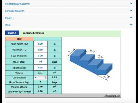 Concrete Calculator for Footing, Beam, Column, Slab and Stair