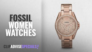 10 Best Selling Fossil Women Watches [2018 ]: Fossil Women's ES2811 Riley Rose Gold-Tone Stainless