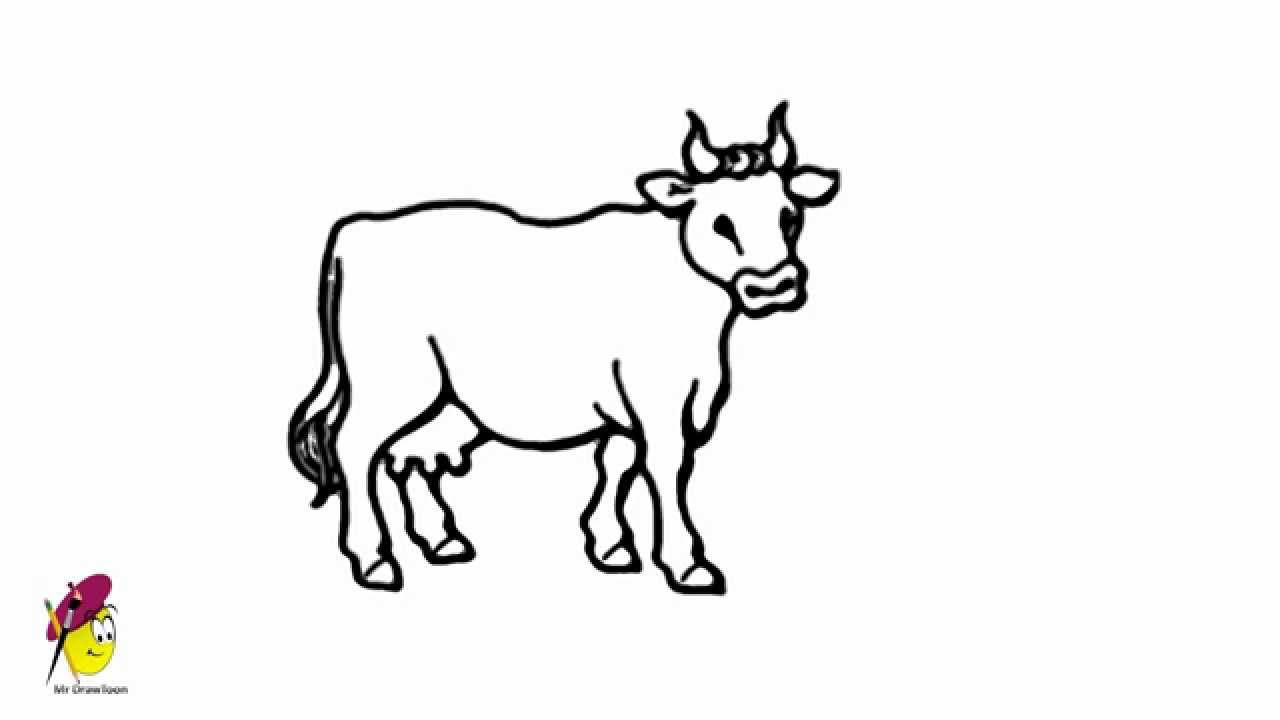 Uncategorized Cow Drawings cow farm animals easy drawing how to draw a youtube