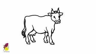 cow draw farm animals drawing animal easy simple sketch sketches drawings drawn domestic step line face cartoon pencil cattle cat