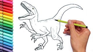 Drawing and Coloring Velociraptor Jurassic World - Dinosaurs Coloring Page For Children