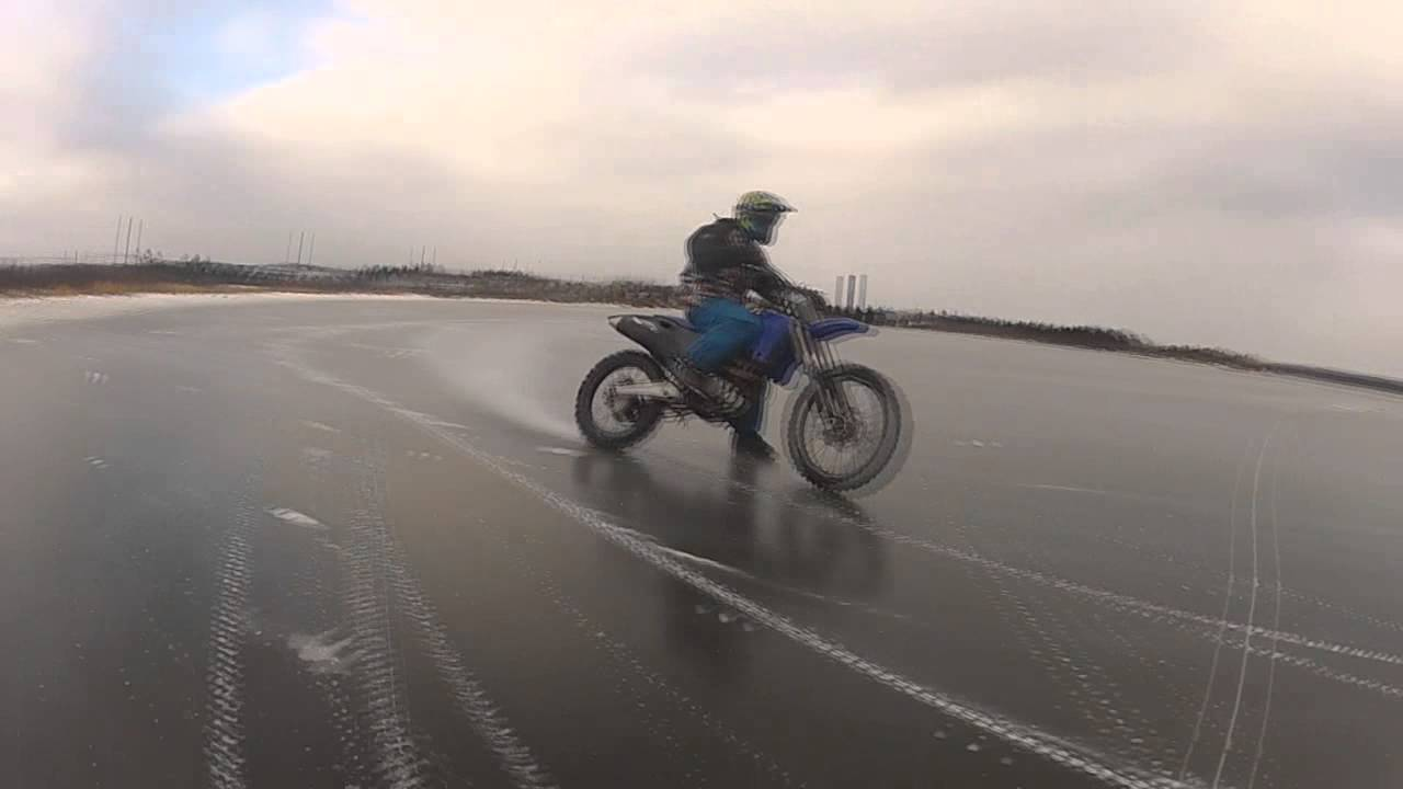 Dirtbike On Ice Studded Tires Youtube