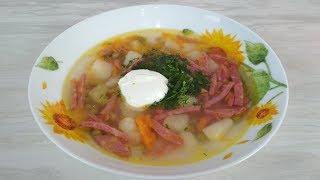 Быстрый суп с консервированным горошком -  рецепт первого блюда от Просто Кухни