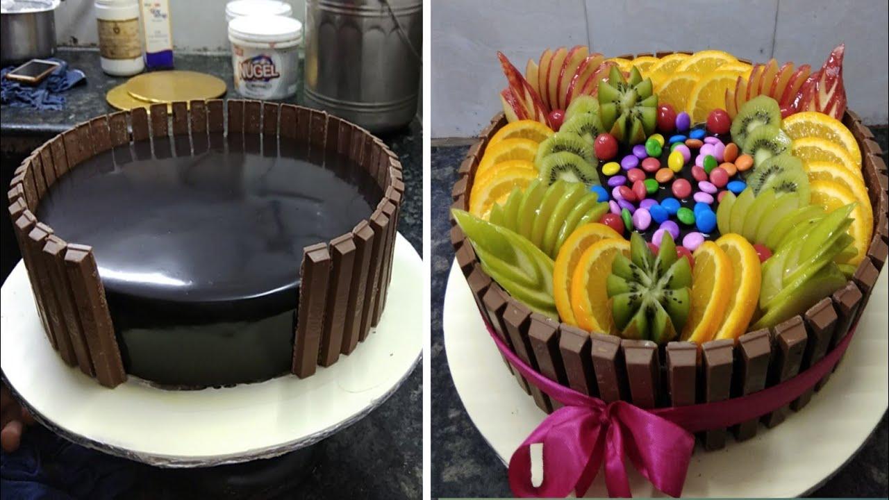 Kitkat Chocolate Cake design |Kitkat fruit Chocolate Cake Design |Kitkat Fruit Garnish Cake
