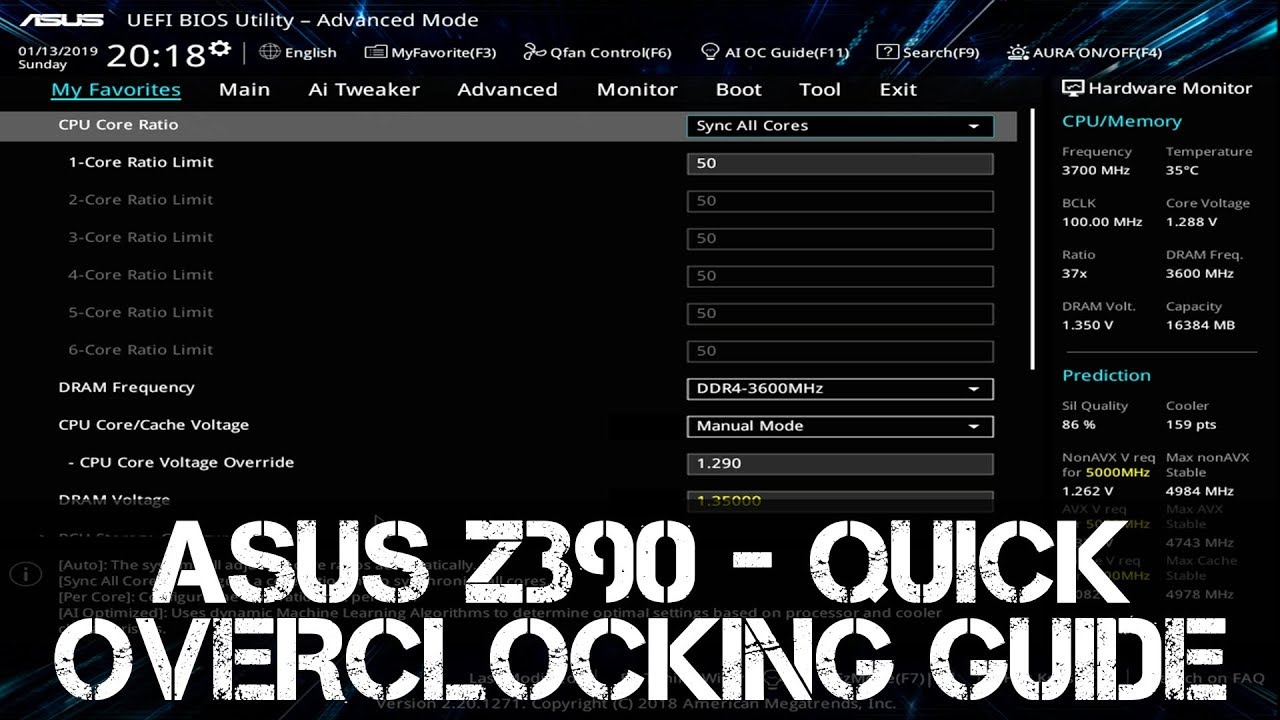 ASUS Z390 Quick Overclocking Guide | i7 - i9 | 8700K - 8086K - 9700K - 9900K