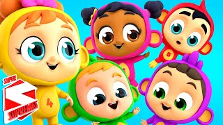 Five Little Monkeys | Monkey Song | Nursery Rhymes For Babies | Kids Songs with Super Supremes