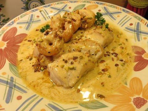 recette de dos de cabillaud sauce crevette-pistache mère mitraille